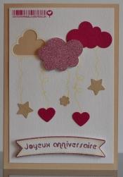 Carte d'anniversaire la tête dans les nuages