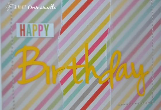 Carte anniversaire rayures colorées Mai 2015 | Created by Emmanuelle