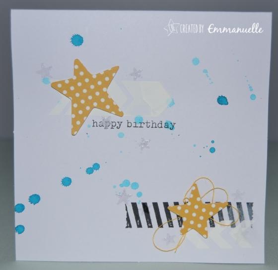 Carte anniversaire Etoiles Mai 2015 | Created by Emmanuelle