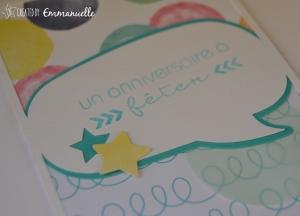 Carte Anniversaire bulles Défi 2 Com.16 | Created by Emmanuelle