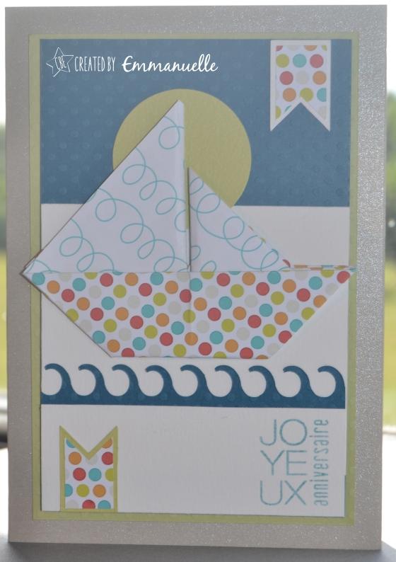 Carte anniversaire bateau origami Juillet 2015 | Created by Emmanuelle