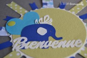 Carte cocarde naissance éléphant Juillet 2015 | Crreated by Emmanuelle