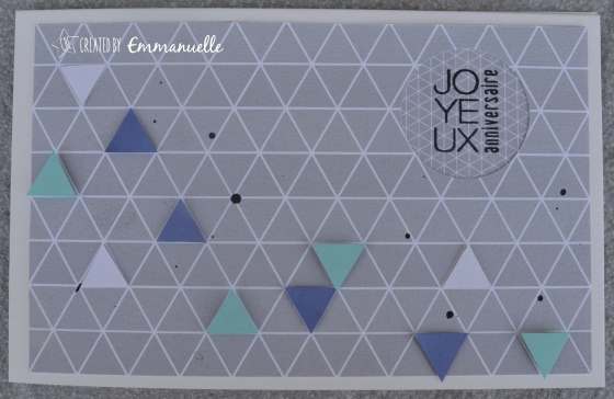 """Carte anniversaire """"triangles"""" Août 2015 