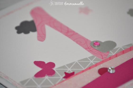 Carte anniversaire en rose et gris Février 2016 | Created by Emmanuelle