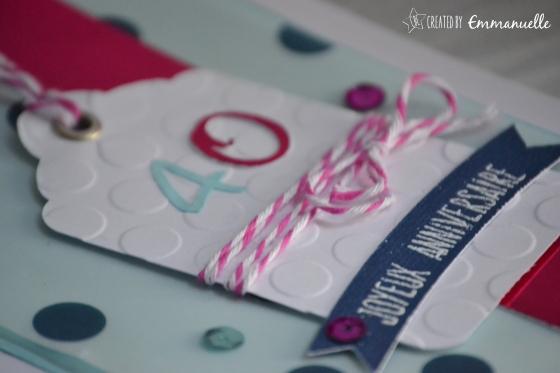 "Carte anniversaire ""tag 40"" Février 2016 | Created by Emmanuelle"