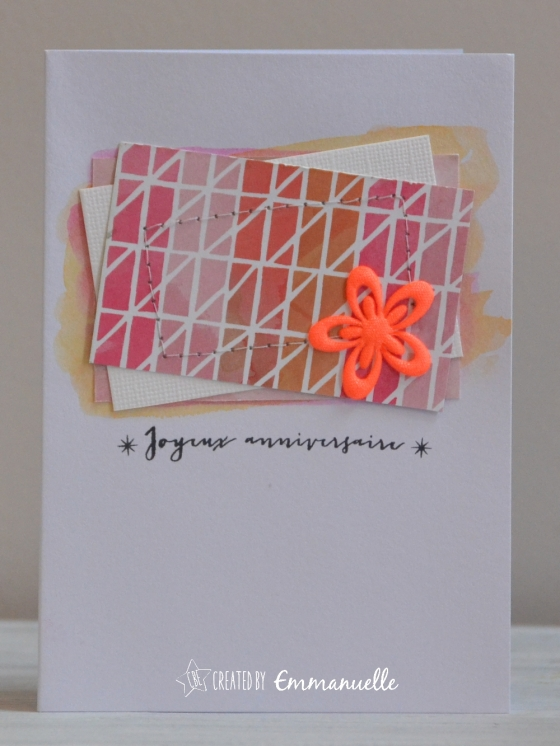 "Carte Anniversaire ""rectangles et couture"" Mars 2016 