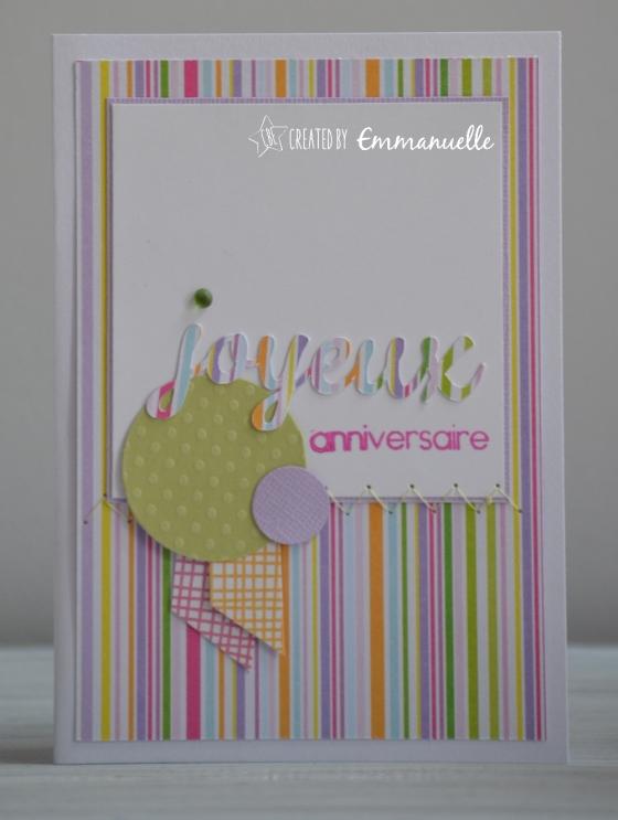 """Carte anniversaire """"lignes et ronds"""" Mars 2016   Created by Emmanuelle"""