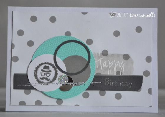 "Carte ""moustache argent"" Avril 2016 | Created by Emmanuelle"