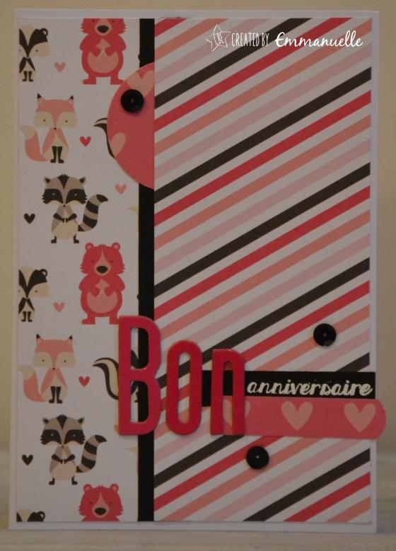 "Carte anniversaire ""renard rose"" Mai 2016 | Created by Emmanuelle"