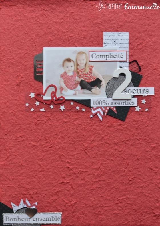 "Page Scrap A4 ""2 soeurs"" Juin2016 | Created by Emmanuelle"