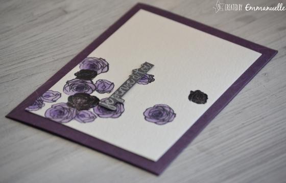 "Carte condoléances ""roses mauves"" Août 2016 | Created by Emmanuelle"
