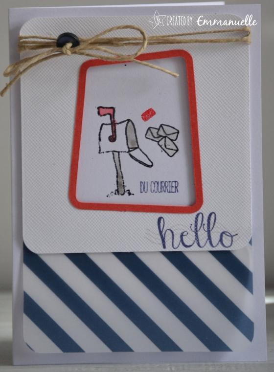 "Carte hello ""voie postale"" Août 2016 | Created by Emmanuelle"