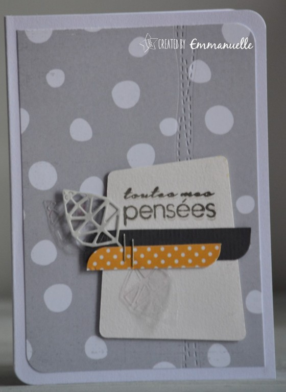 "Carte codoléances ""pois gris"" Septembre 2016 