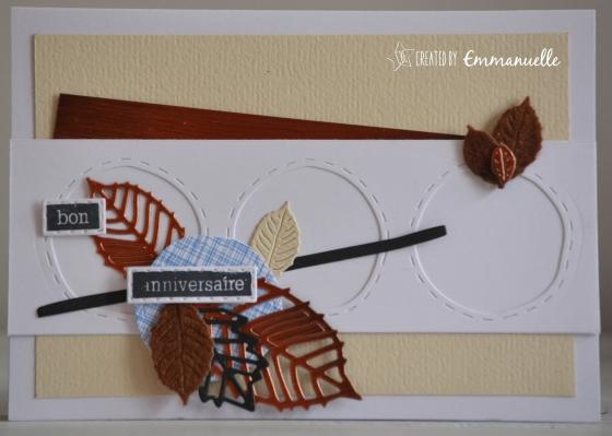 """Carte anniversaire """"automne cuivré"""" Octobre 2016   Created by Emmanuelle"""