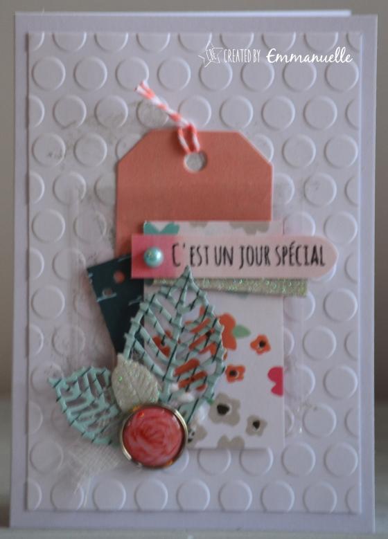 """Carte d'anniversaire """"tag et fleurs"""" Octobre 2016   Created by Emmanuelle"""