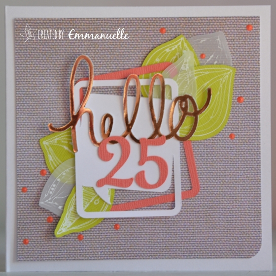 "Carte anniversaire ""lin 25"" Octobre 2016 | Created by Emmanuelle"