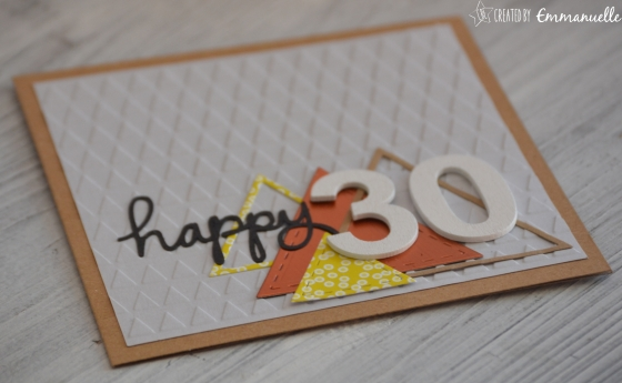 "Carte anniversaire ""triangles 30"" Octobre 2016 