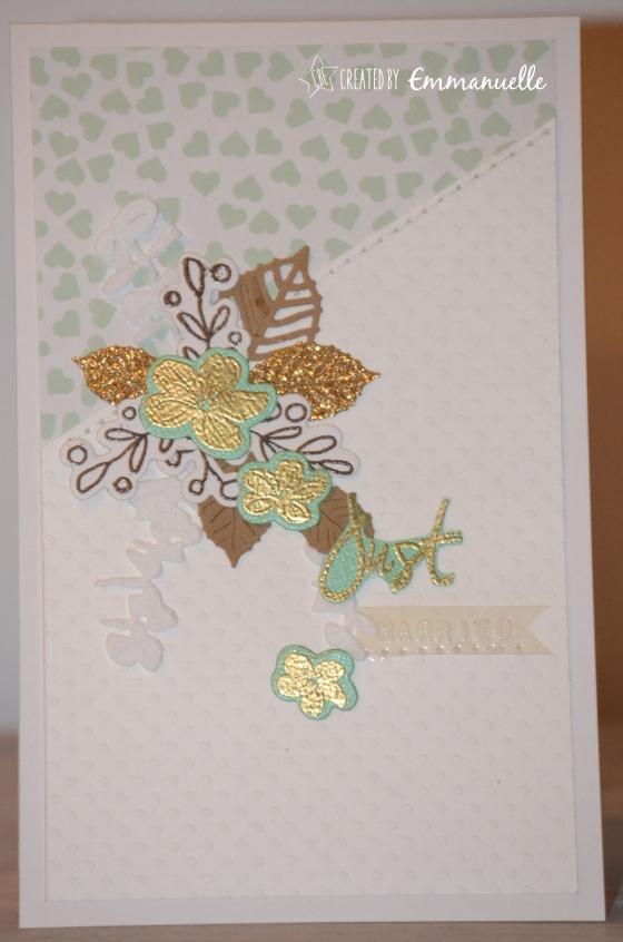 """Carte de félicitations mariage """"gold & mint"""" Décembre 2016   Created by Emmanuelle"""