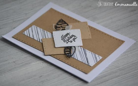 """Carte d'anniversaire """"carrés en kraft"""" Mars 2017   Created by Emmanuelle"""