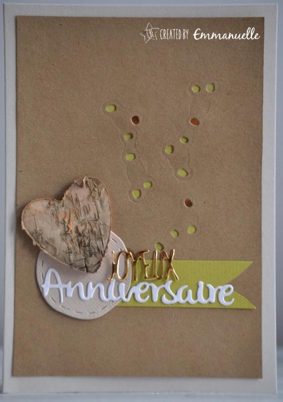 "Carte d'anniversaire ""coeur nature"" Mars 2017 | Created by Emmanuelle"