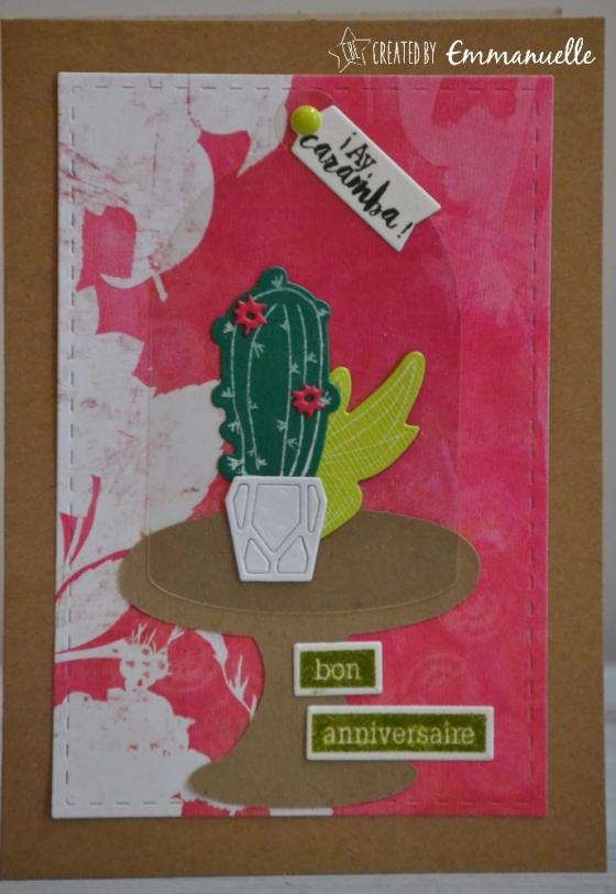"Carte d'anniversaire ""cactus fun"" Avril 2017 