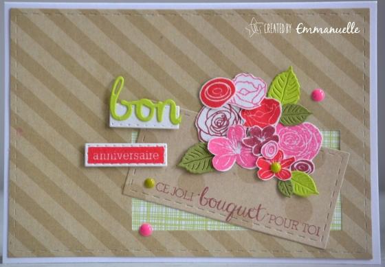"""Carte d'anniversaire """"bouquet fleuri"""" mai 2017   Created by Emmanuelle"""