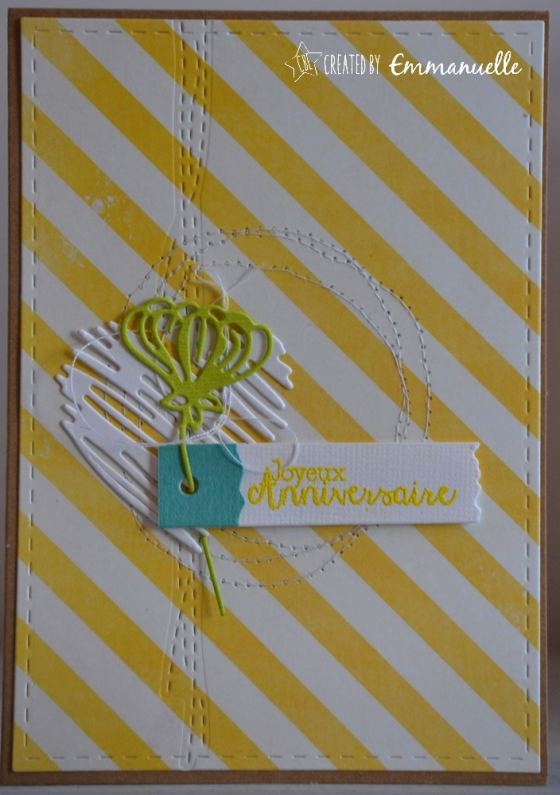 """Carte d'anniversaire """"rayures couture"""" mai 2017 