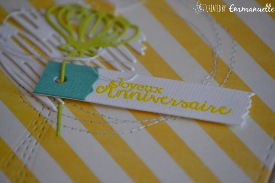 """Carte d'anniversaire """"rayures couture"""" mai 2017   Created by Emmanuelle"""