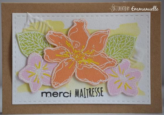 "Carte merci ""merci fleuri"" juin 2017   Created by Emmanuelle"