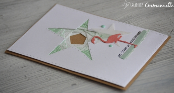 "Carte anniversaire ""Iris Folding - Flamant rose"" juillet 2017 