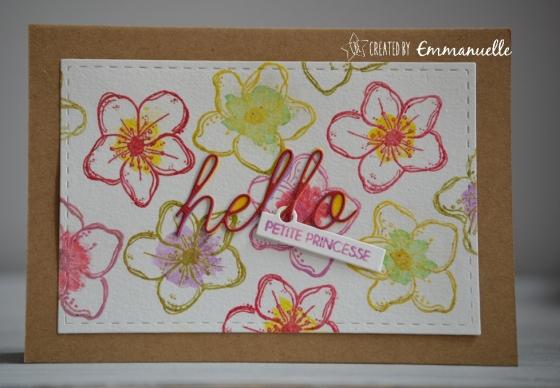 """Carte félicitations (naissance filleà """"Hello princesse"""" juillet 2017   Created by Emmanuelle"""