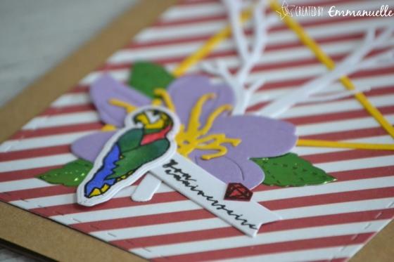 "Carte anniversaire ""Perroquet tropical"" juillet 2017 | Created by Emmanuelle"