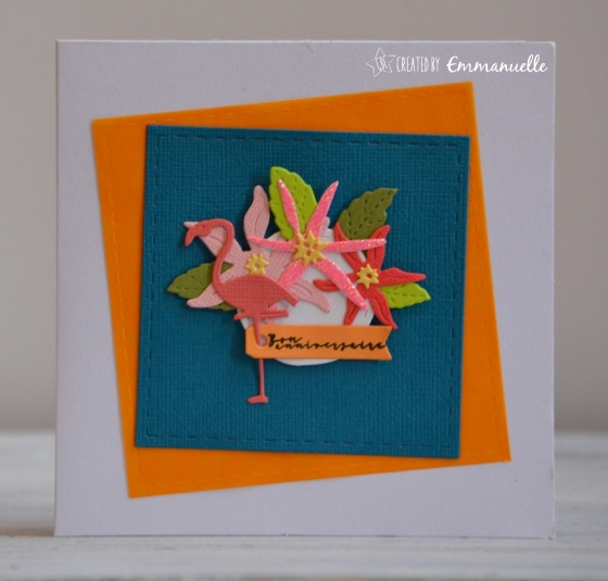 "Carte d'anniversaire ""flamant tropical"" août 2017 