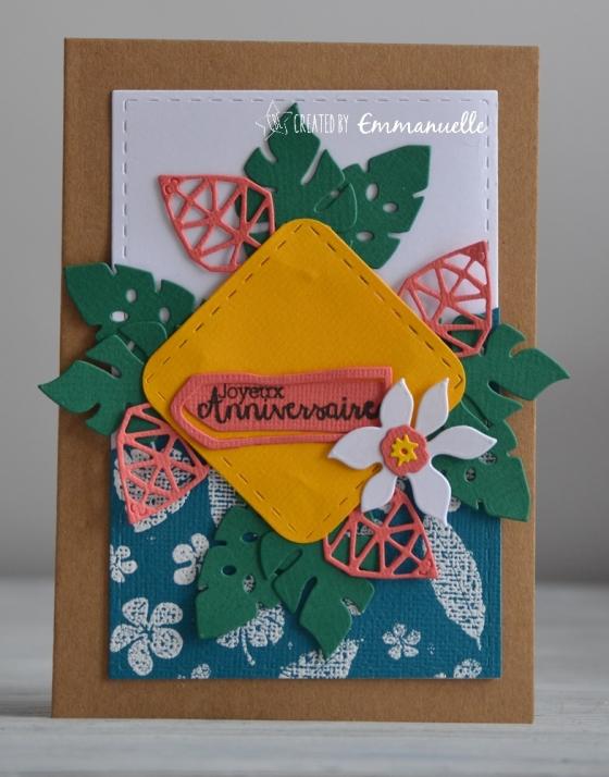 "Carte anniversaire ""Feuilles tropicales"" août 2017 | Created by Emmanuelle"
