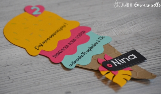 """Invitation anniversaire 2 ans Nina """"Ice cream Party"""" août 2017 