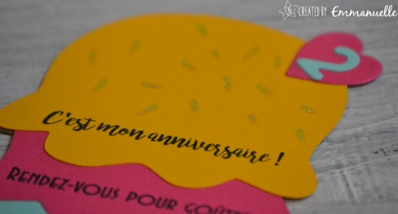 """Invitation anniversaire 2 ans Nina """"Ice cream Party"""" août 2017   Created by Emmanuelle"""