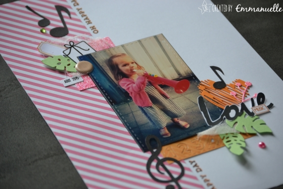 "Page Scrap A4 ""Love Music"" Août 2017 