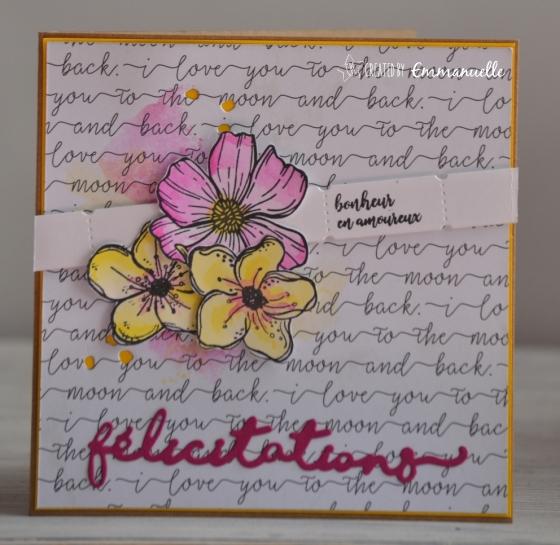 "Carte de félicitations ""mariage fleuri"" Mars 2018 | Created by Emmanuelle"