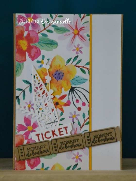 "Carte de félicitations - ""ticket fleuri"" Mai 2018 