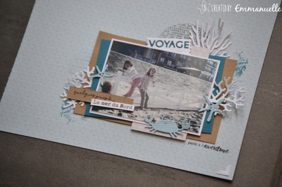 """Page Scrap A4 """"Mer du Nord"""" Août 2018   Created by Emmanuelle"""