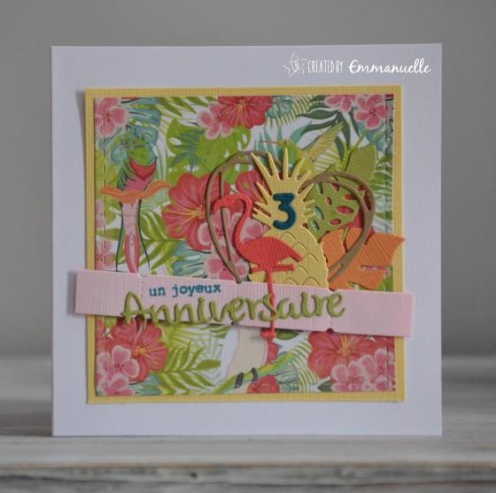 "Carte d'anniversaire ""tropical - Nina"" septembre 2018 | Created by Emmanuelle"