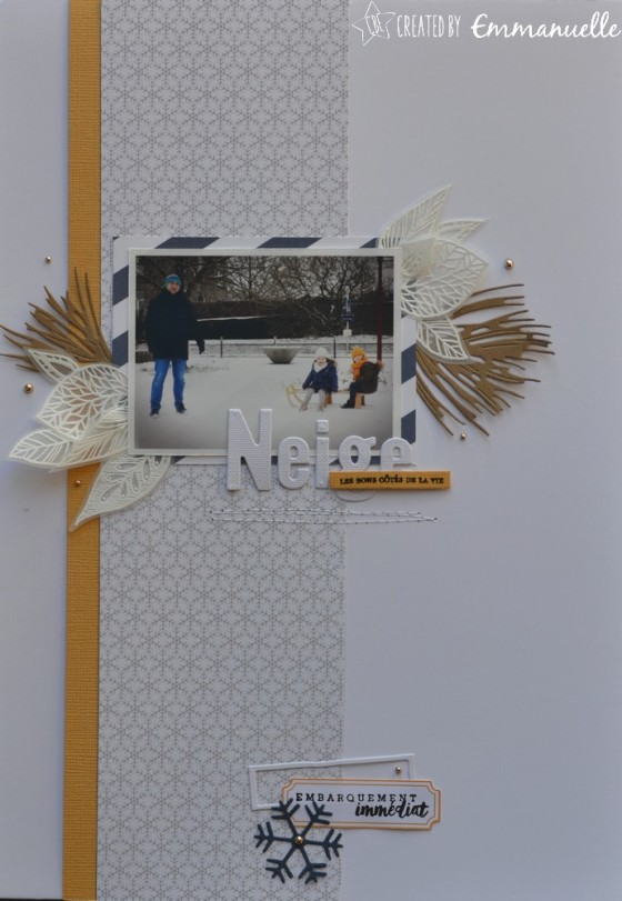 "Page Scrap A4 ""neige"" Février 2019 