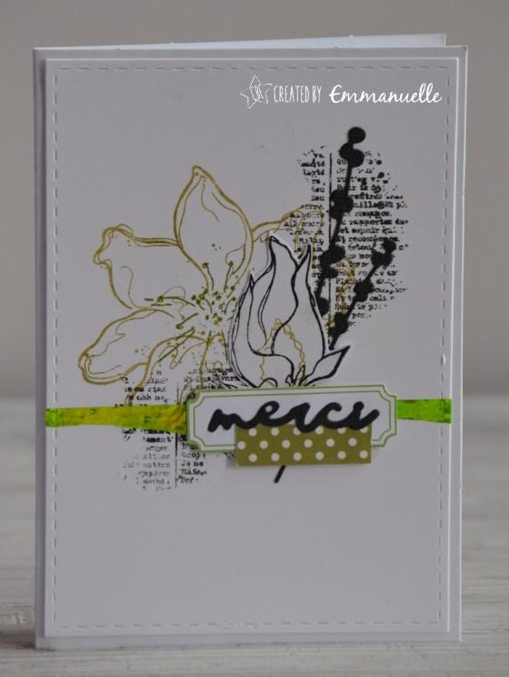 "Carte de remerciement ""fleurs en vert"" mars 2019 | Created by Emmanuelle"