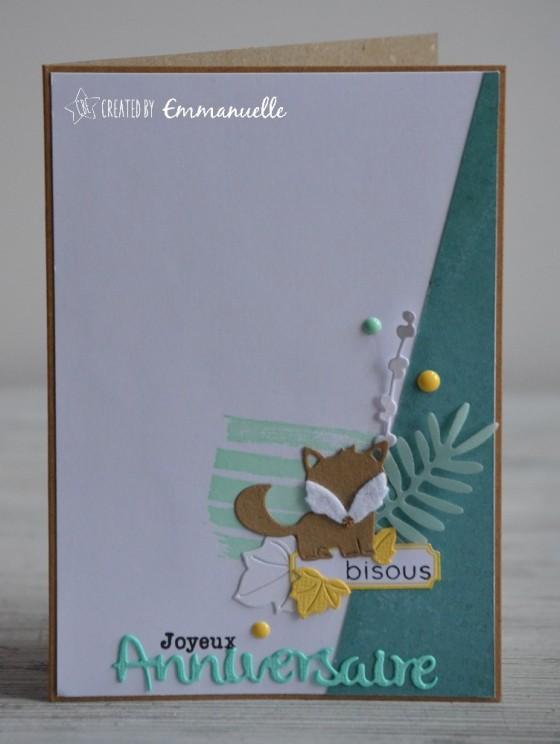 "Carte d'anniversaire ""renard"" avril 2019 | Created by Emmanuelle"