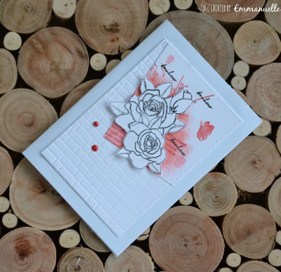 "Carte de félicitations ""roses"" Août 2019 | Created by Emmanuelle"