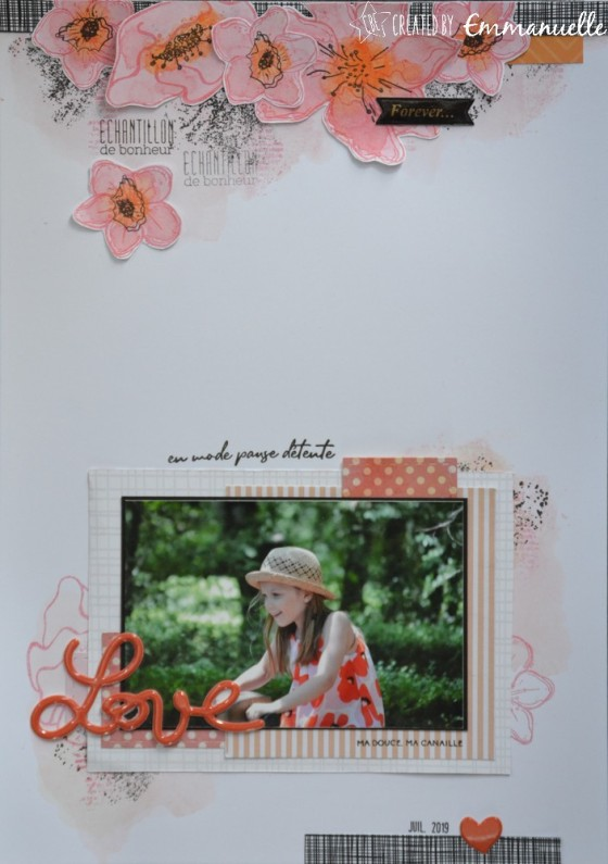 "Page Scrap A4 ""Love flowers"" Août 2019 