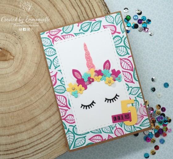 "Carte anniversaire ""licorne"" Février 2020 | Created by Emmanuelle"