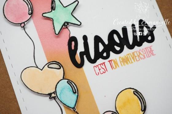 "Carte d'anniversaire ""ballons"" Mars 2020 | Created by Emmanuelle"