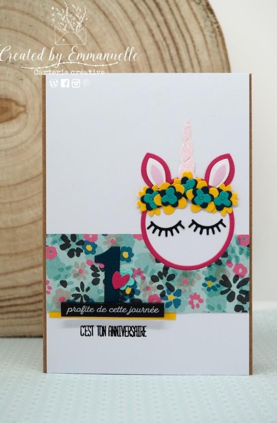 "Carte d'anniversaire ""licorne"" Mars 2020 | Created by Emmanuelle"