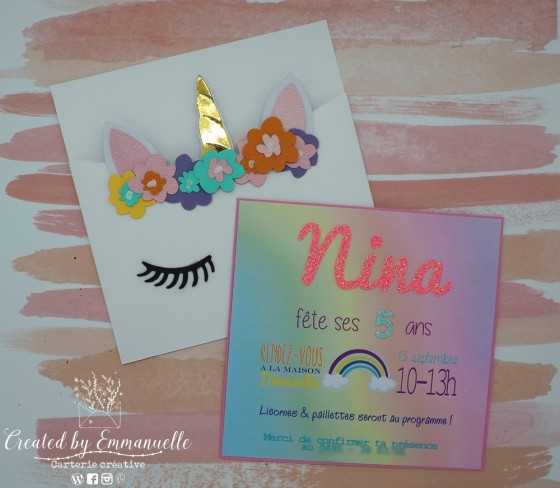 "Invitations 5 ans Nina ""Licorne"" Août 2020 